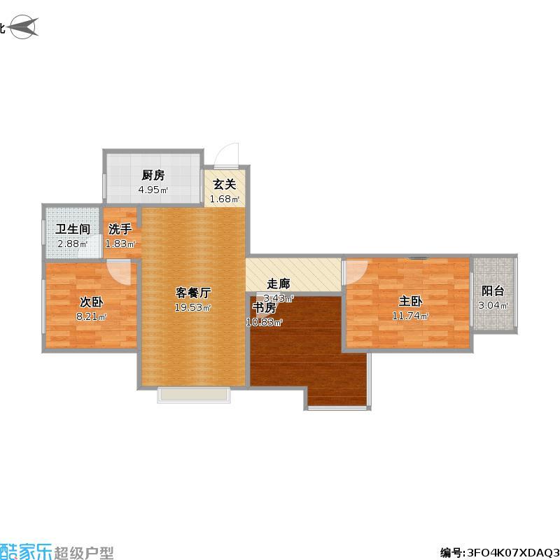 半岛书香3室0厅1卫1厨92.00㎡户型图