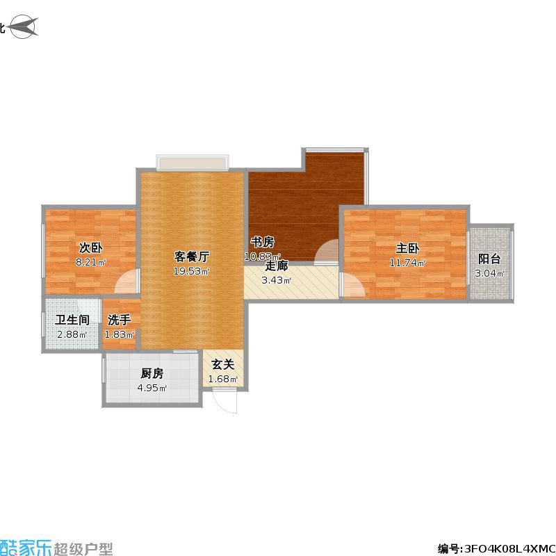 中国户型大全 秦皇岛 半岛书香 3室0厅1卫1厨 80-100㎡  户型图报错
