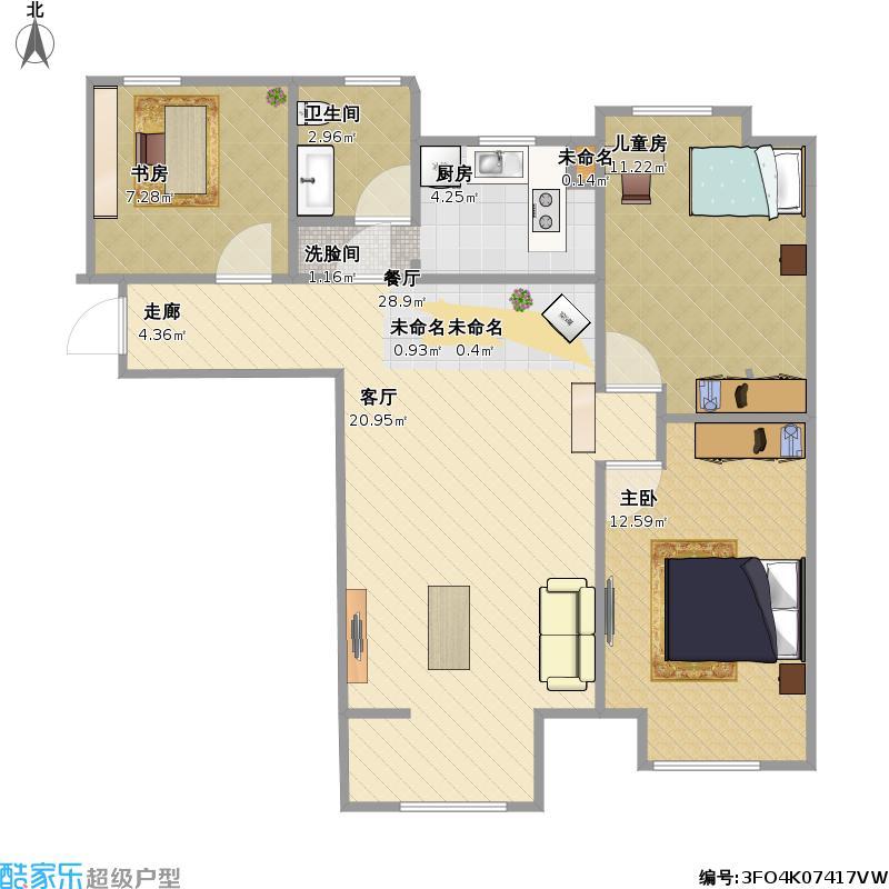 半岛书香3室1厅1卫0厨93.00㎡户型图