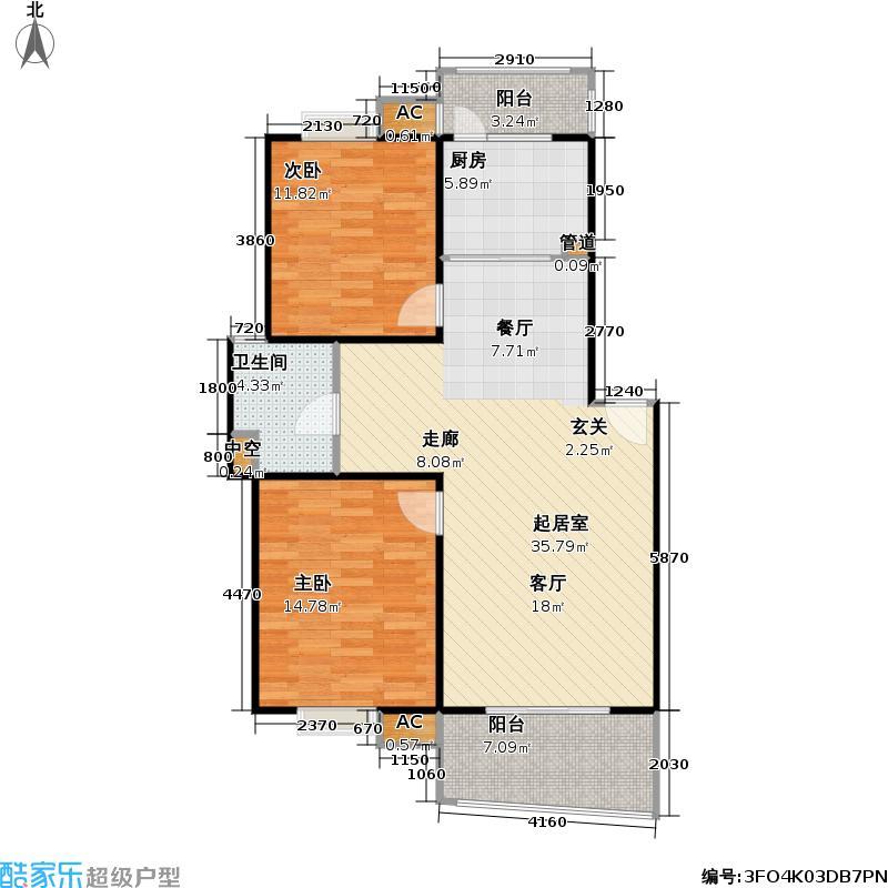 歌林春天二期2室0厅1卫1厨91.00㎡户型图