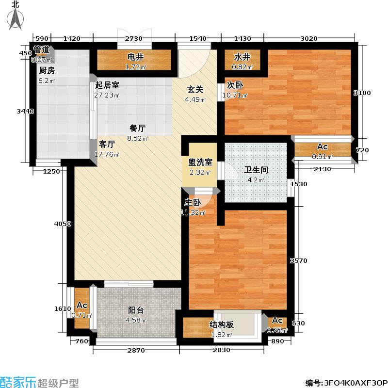 风景蝶院2室0厅1卫1厨106.00㎡户型图