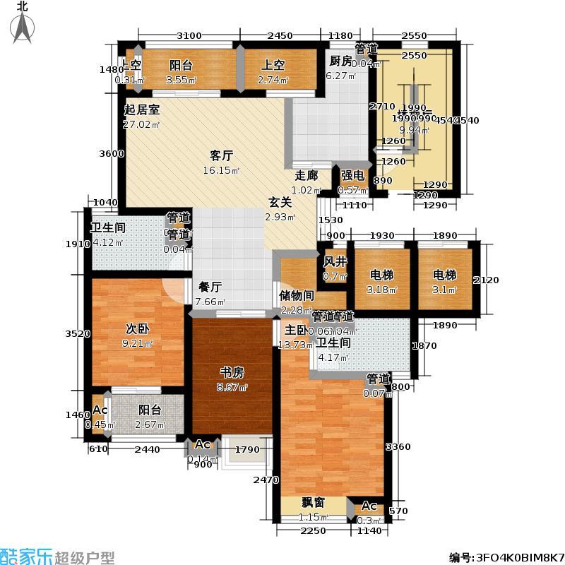 风景蝶院3室0厅2卫1厨134.00㎡户型图