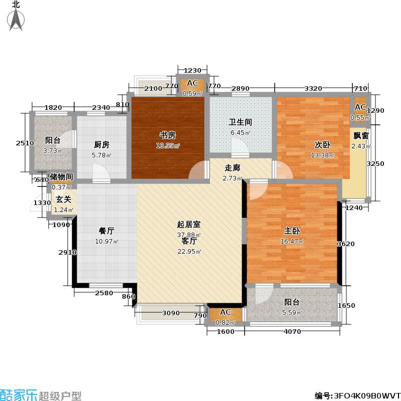 远洋新天地3室0厅1卫1厨120.00户型图巴渝瓦肆设计图图片