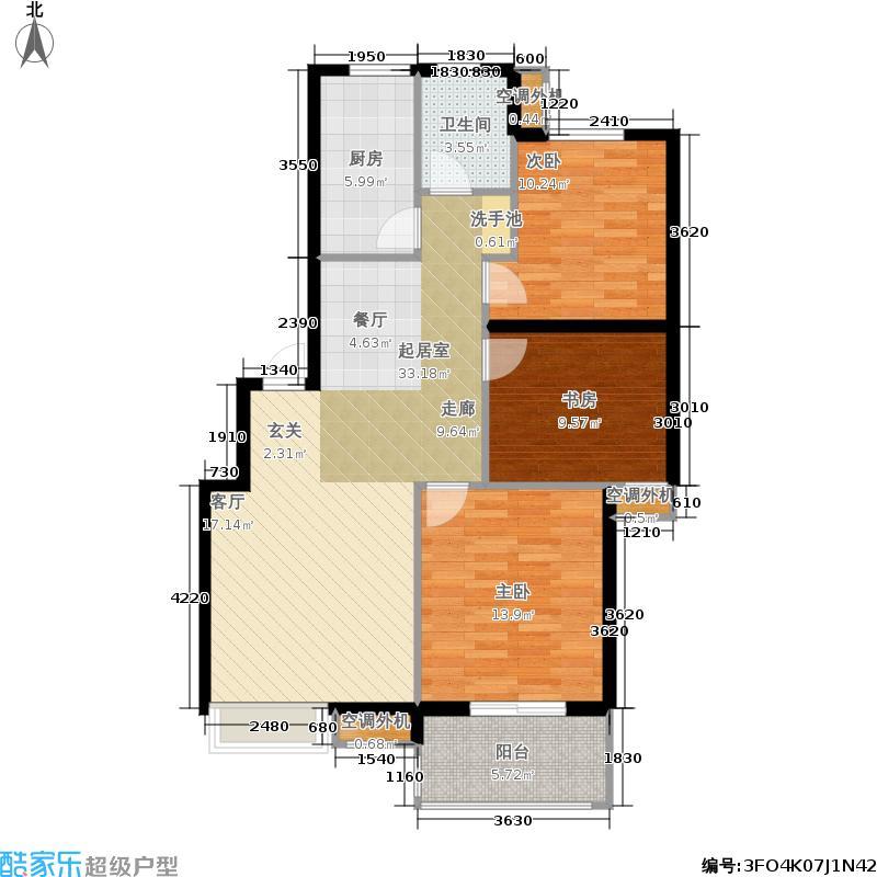 中国户型大全 杭州 金瑞风景大院 3室0厅1卫1厨 100-130㎡  户型图报