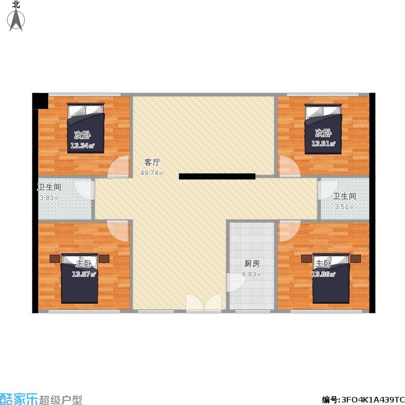 四室一厅一层4室1厅2卫1厨158.00㎡户型图