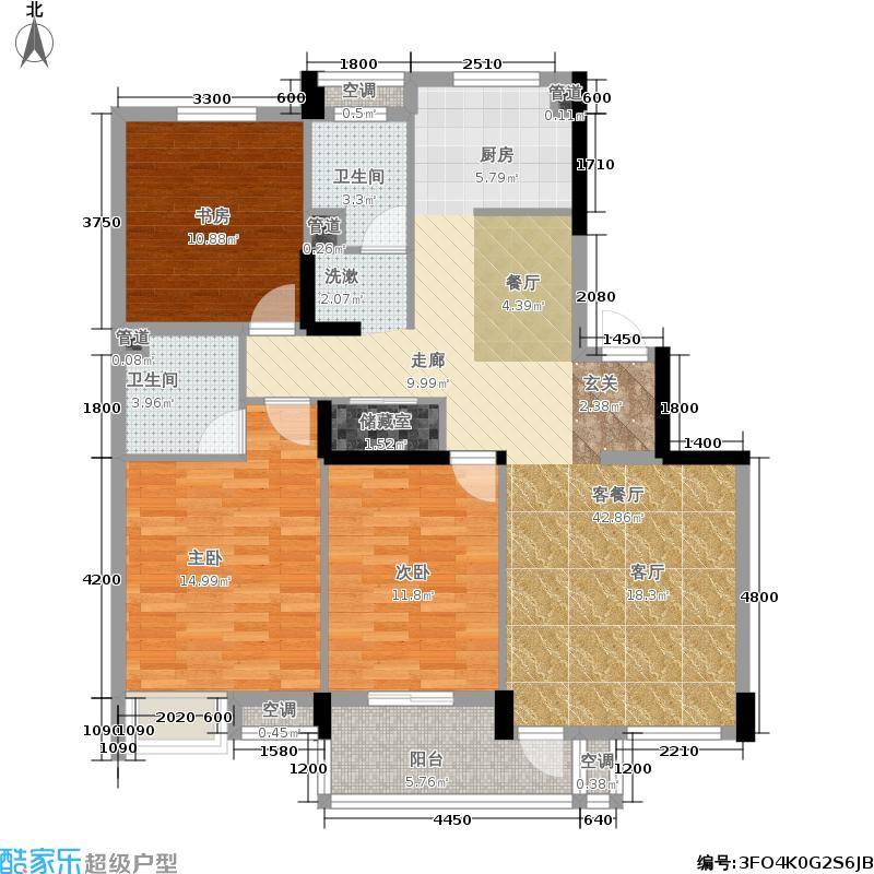 中国户型大全 杭州 风景大院 3室1厅2卫0厨 100-130㎡  ***标准户型图