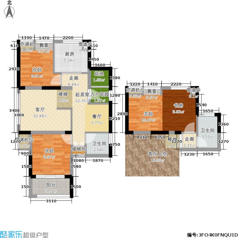 大华海派风景3室0厅2卫1厨89.00㎡户型图