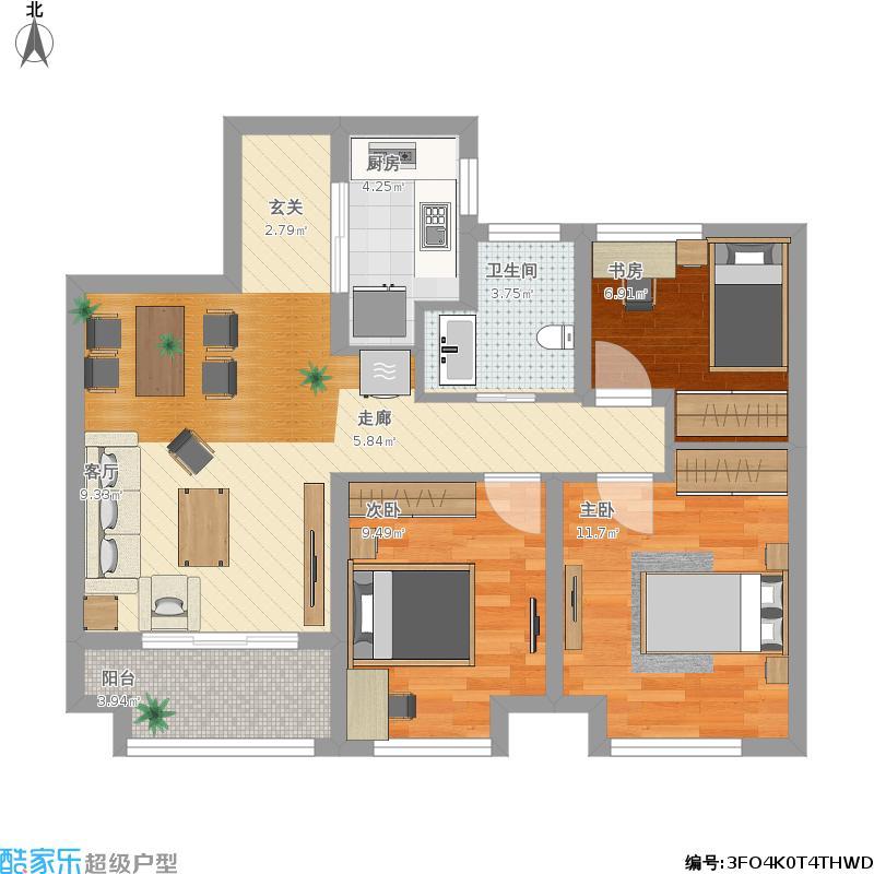 保亿风景晨园3室0厅1卫1厨94.00㎡户型图