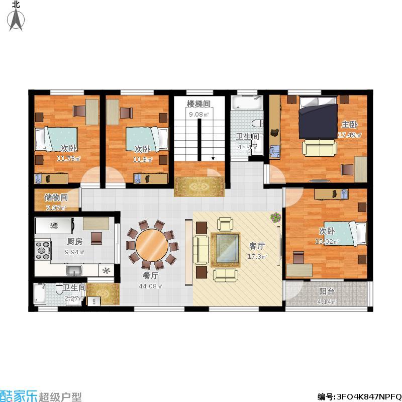 172.43平米四房一厅两卫农村自建房