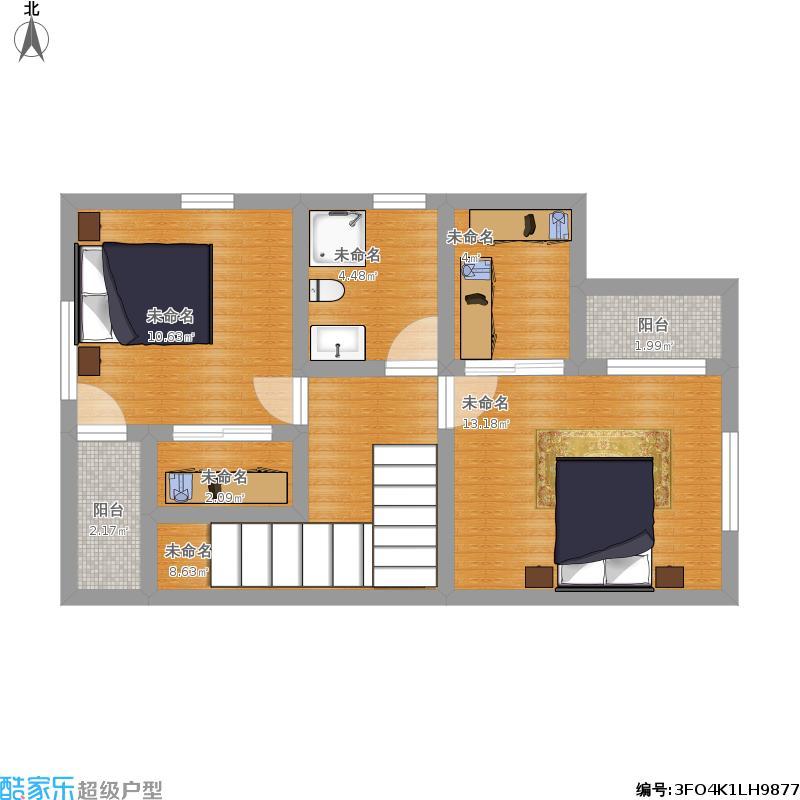 小户型新农村自建房屋设计图10米x6米两层60平米 美式