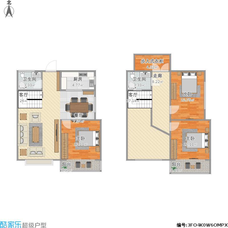 莱茵半岛3室1厅2卫1厨160.00㎡户型图