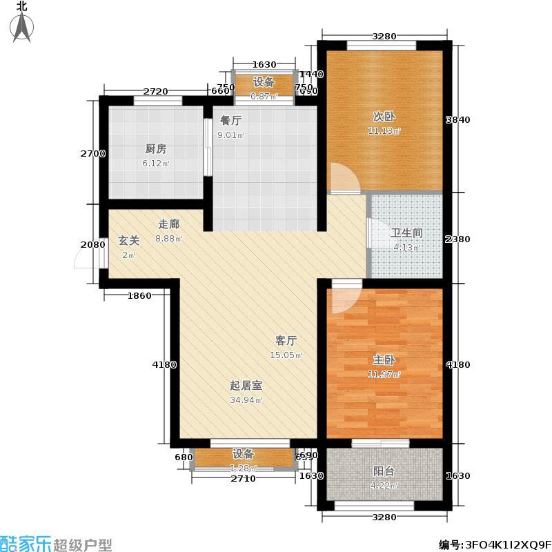 金屋秦皇半岛2室0厅1卫1厨108.00㎡户型图
