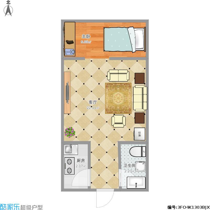浅水半岛80俊0室1厅1卫1厨36.00㎡户型图
