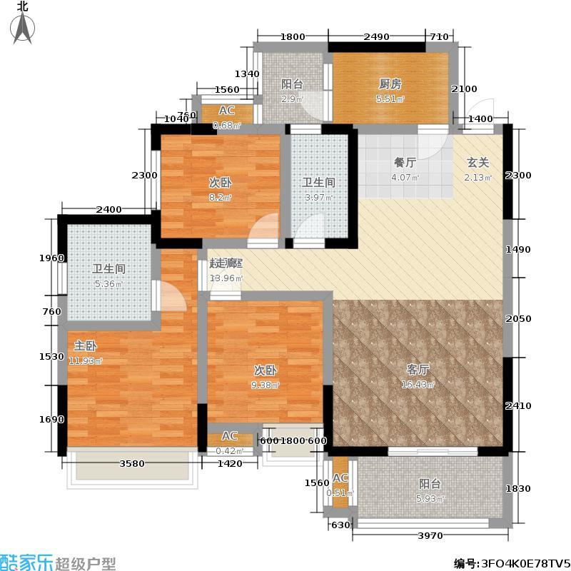 中国户型大全 成都 百悦城 3室0厅2卫1厨 100-130�O  ***标准户型图