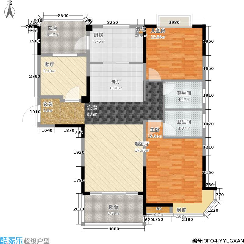 中国户型大全 南京 碧桂园城市花园 2室2厅2卫1厨 100-130㎡  户型图