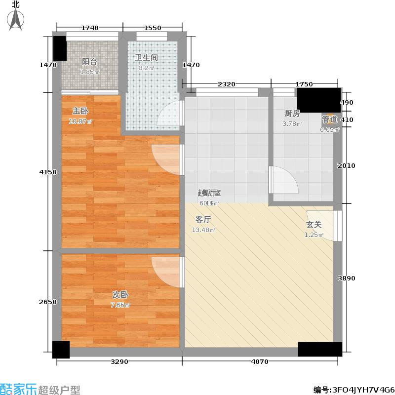 万科圆方2室0厅1卫1厨69.00㎡户型图