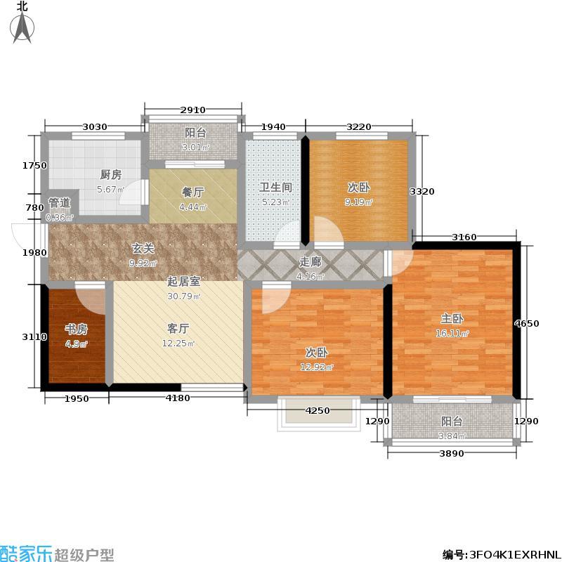 裕塬城市风景4室0厅1卫1厨108.00㎡户型图