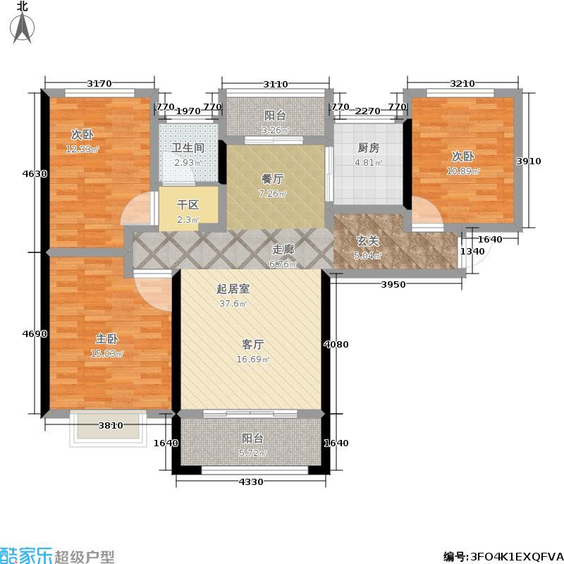 裕塬城市风景3室0厅1卫1厨107.00㎡户型图