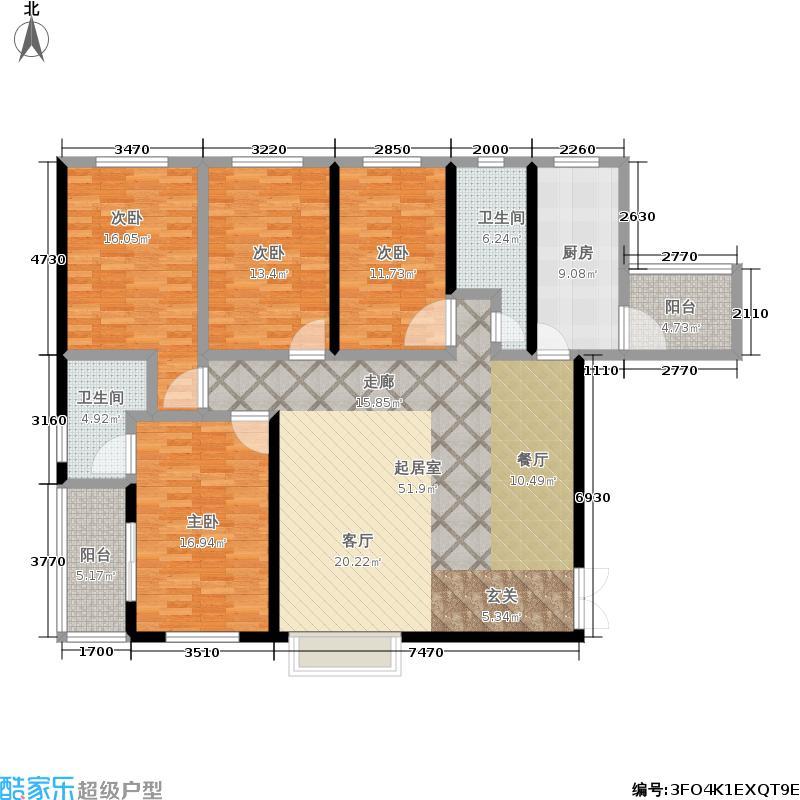 裕塬城市风景4室0厅2卫1厨159.00㎡户型图