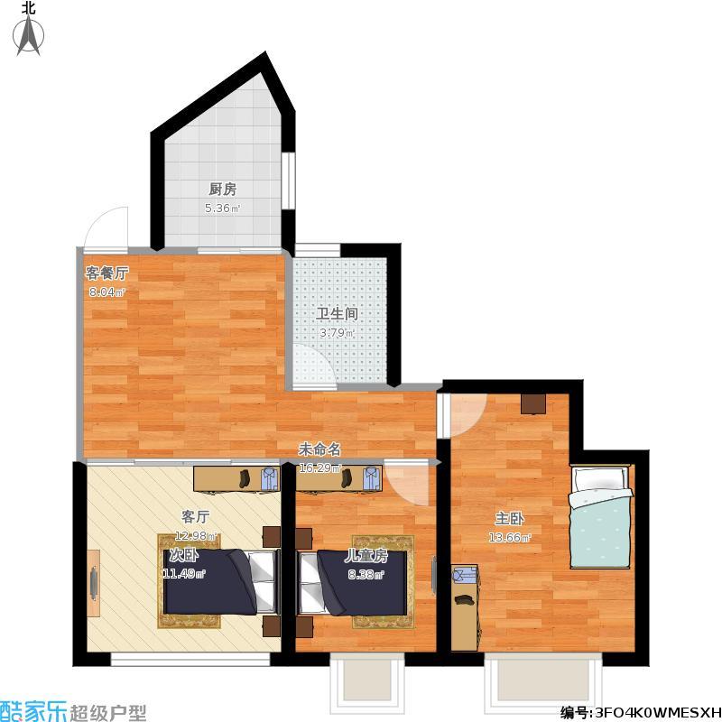 大连海湾城3室0厅1卫1厨83.00㎡户型图