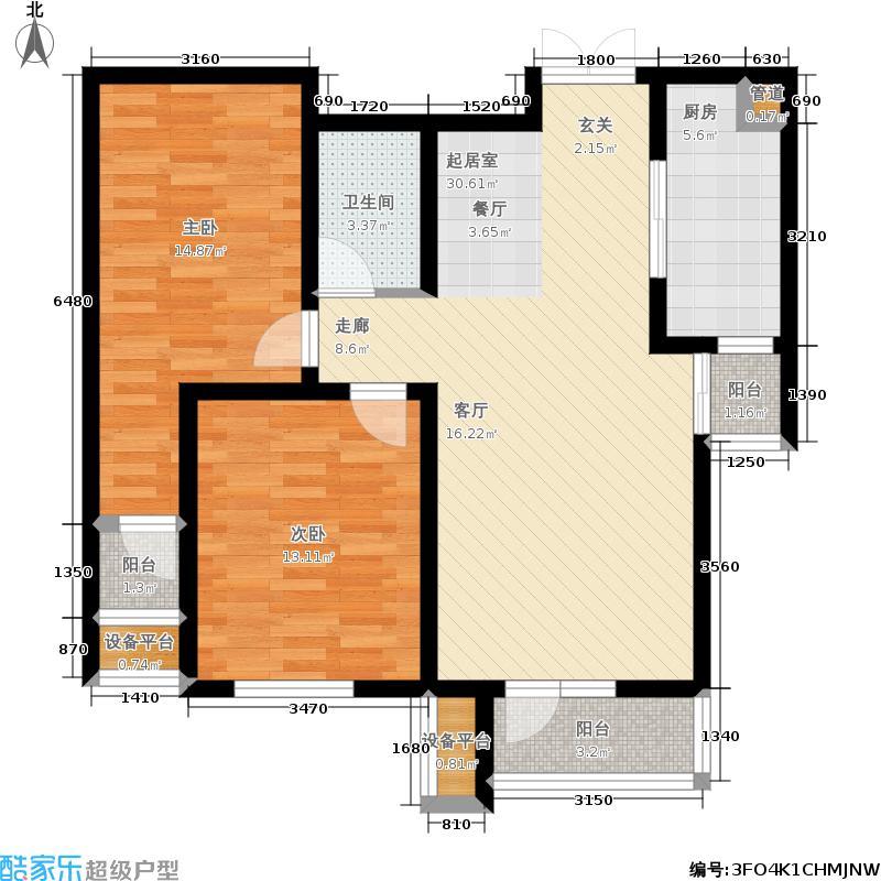 红星国际广场西苑2室0厅1卫1厨110.00㎡户型图