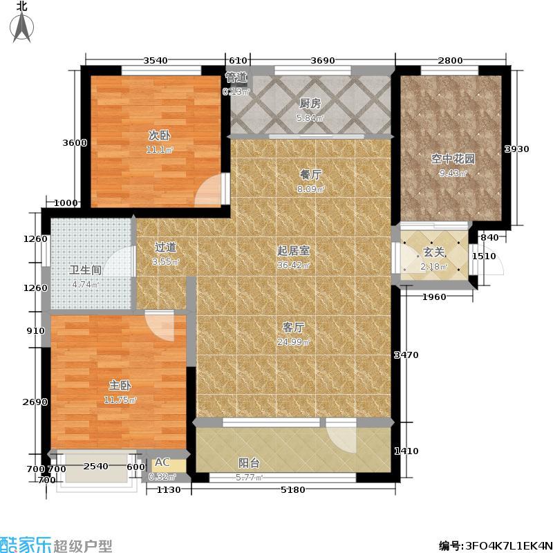中国户型大全 营口 佳兆业君汇上品 2室0厅1卫1厨 100-130㎡  户型图