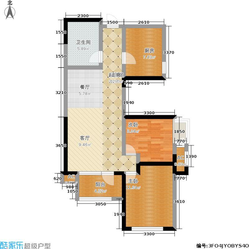 融科贻锦�9�-�g��f_融科贻锦台2室0厅1卫1厨96.00㎡户型图