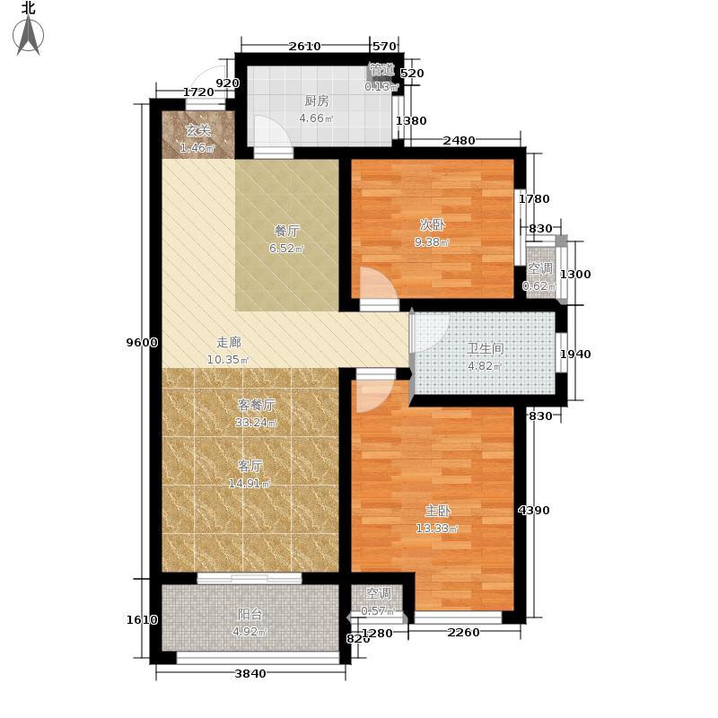 鹤壁建业桂园2室1厅1卫1厨104.00㎡户型图