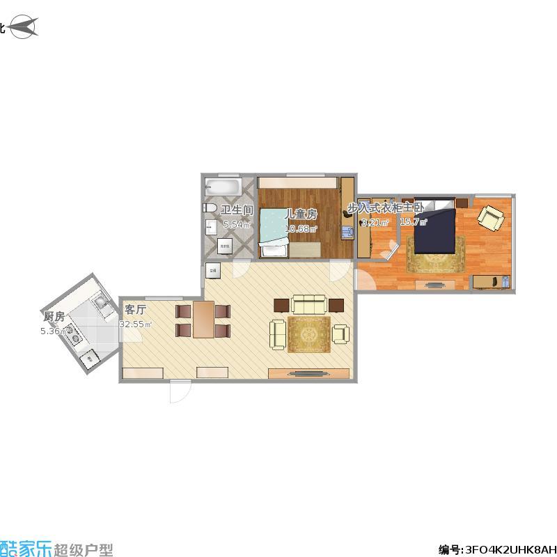 水电路1321弄2室1厅1卫1厨98.00㎡户型图