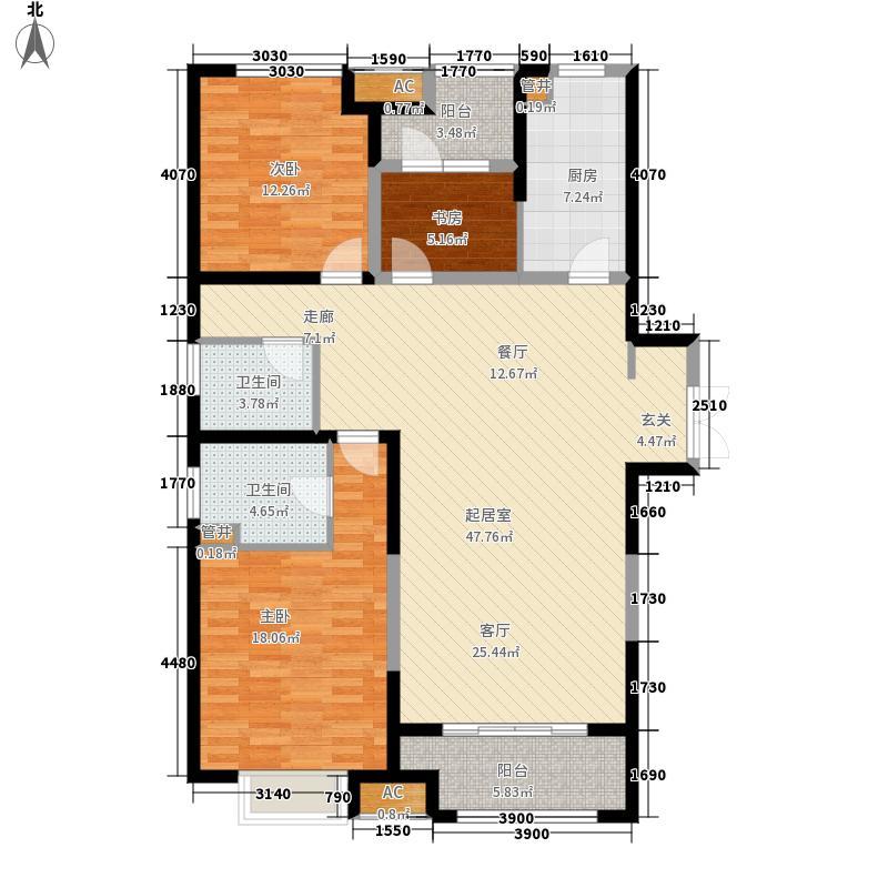 锦艺金水湾3室0厅2卫1厨126.00㎡户型图