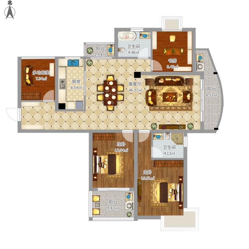 22223室1厅2卫1厨168.00㎡户型图