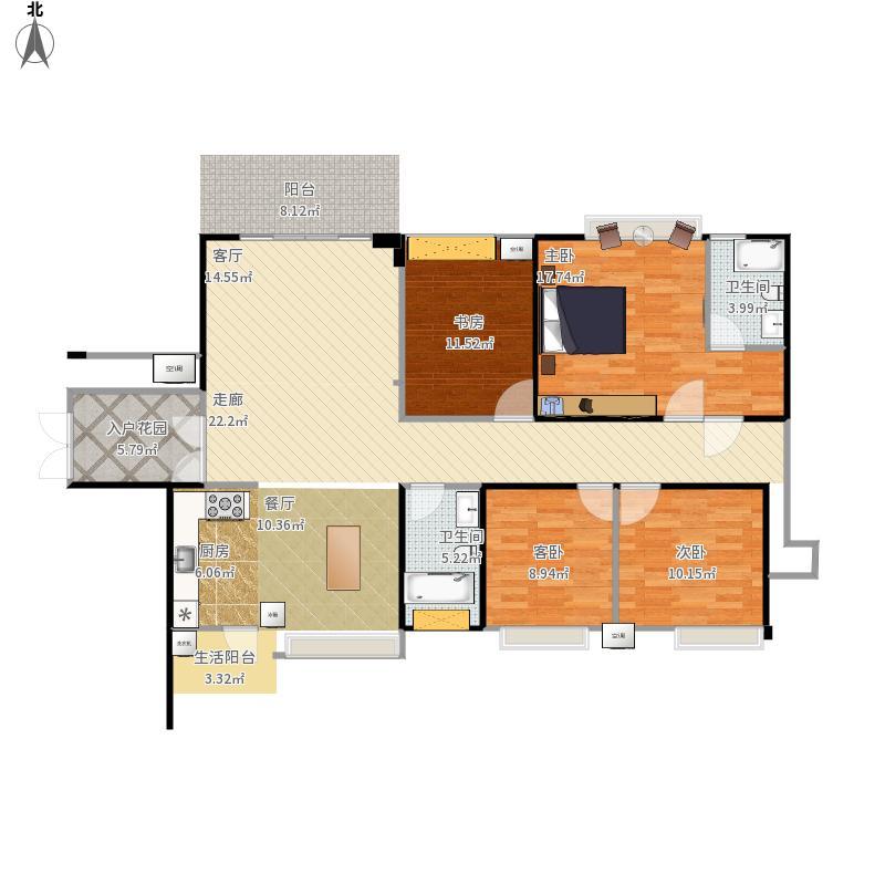 海赋长兴四室两厅4室0厅2卫0厨174.00㎡户型图