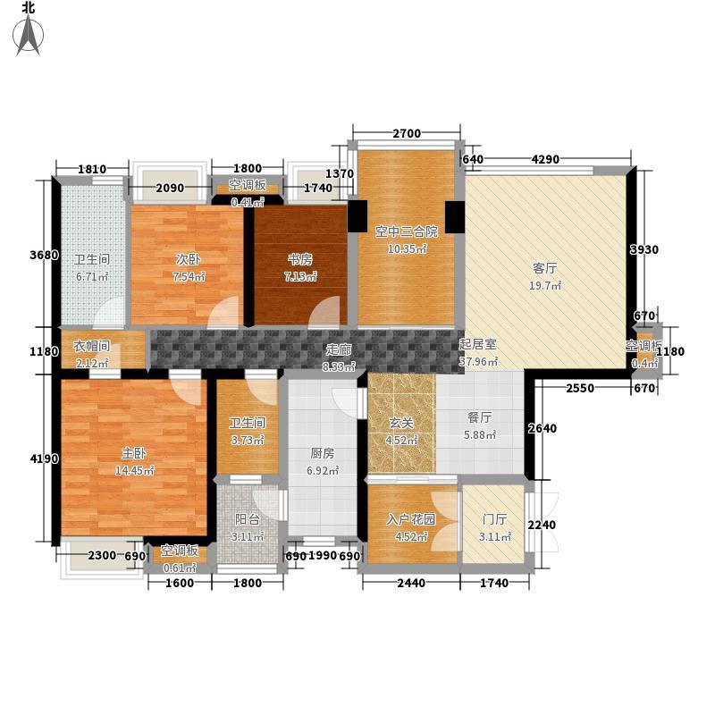 天府长城嘉南地3室0厅2卫1厨130.00㎡户型图
