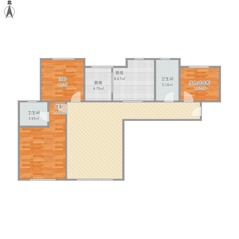 绿岛·印象欣苑2室1厅2卫2厨115.00㎡户型图
