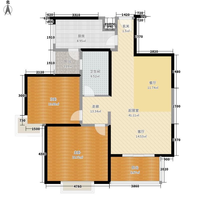 中国户型大全 西安 城市风景都市印象 2室0厅1卫1厨 100-130㎡  户型