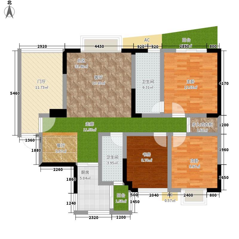 育才竹岛3室0厅2卫1厨131.00㎡户型图