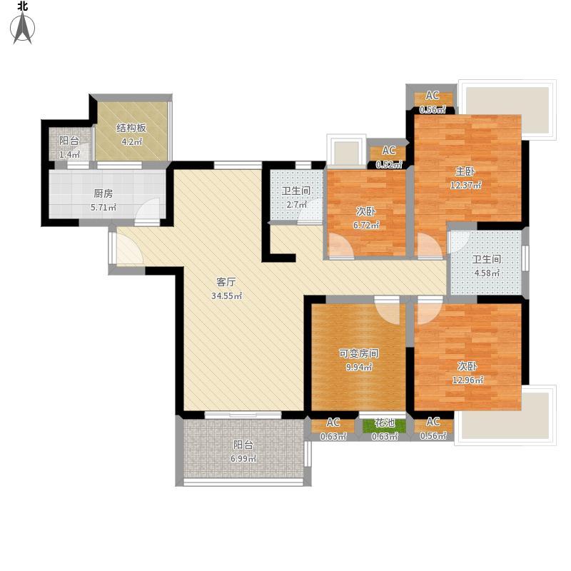 中国户型大全 成都 合能四季康城 3室1厅2卫1厨 130㎡及以上  户型图