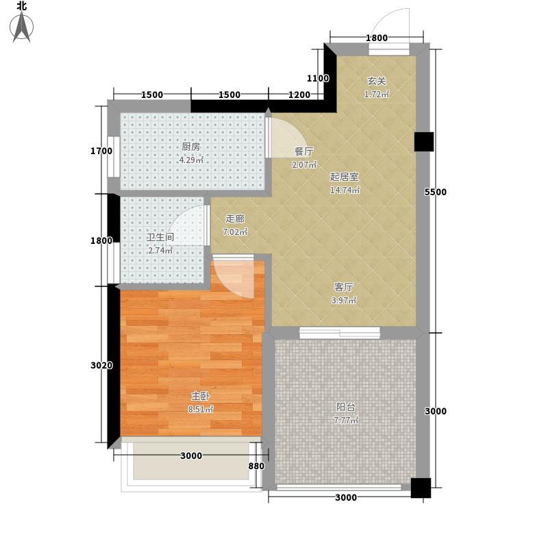 鑫远逸园1室0厅1卫1厨50.00㎡户型图