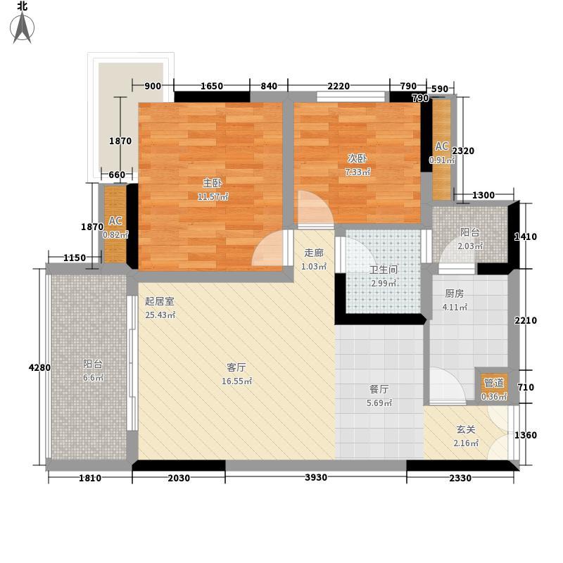 欧鹏k城2室0厅1卫1厨91.00㎡户型图