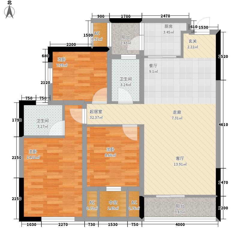 春天凤凰城3室0厅2卫1厨121.00㎡户型图
