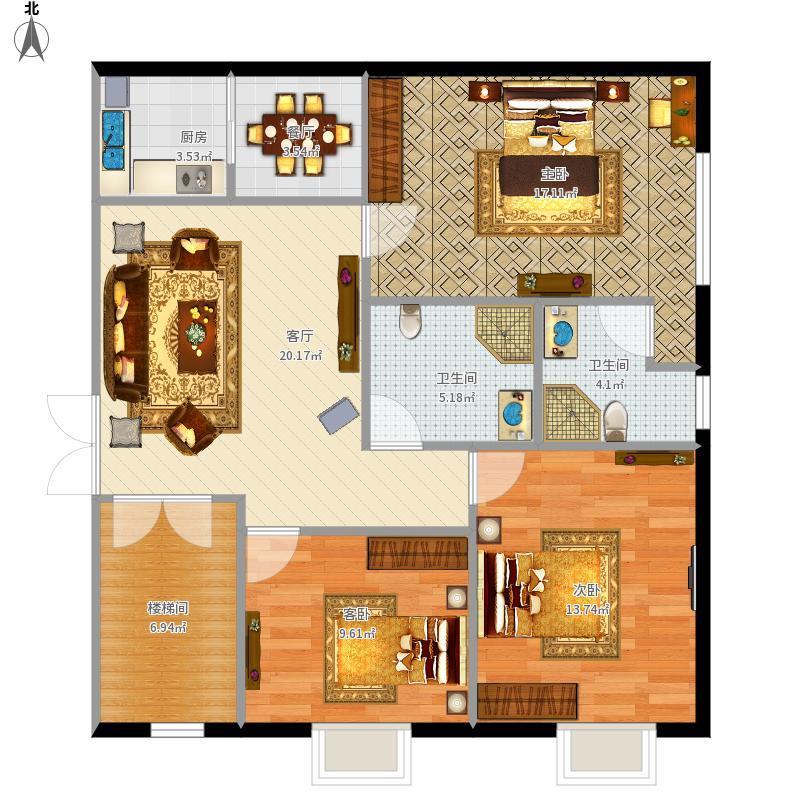 90平長方形2樓三室一廳2衛圖片