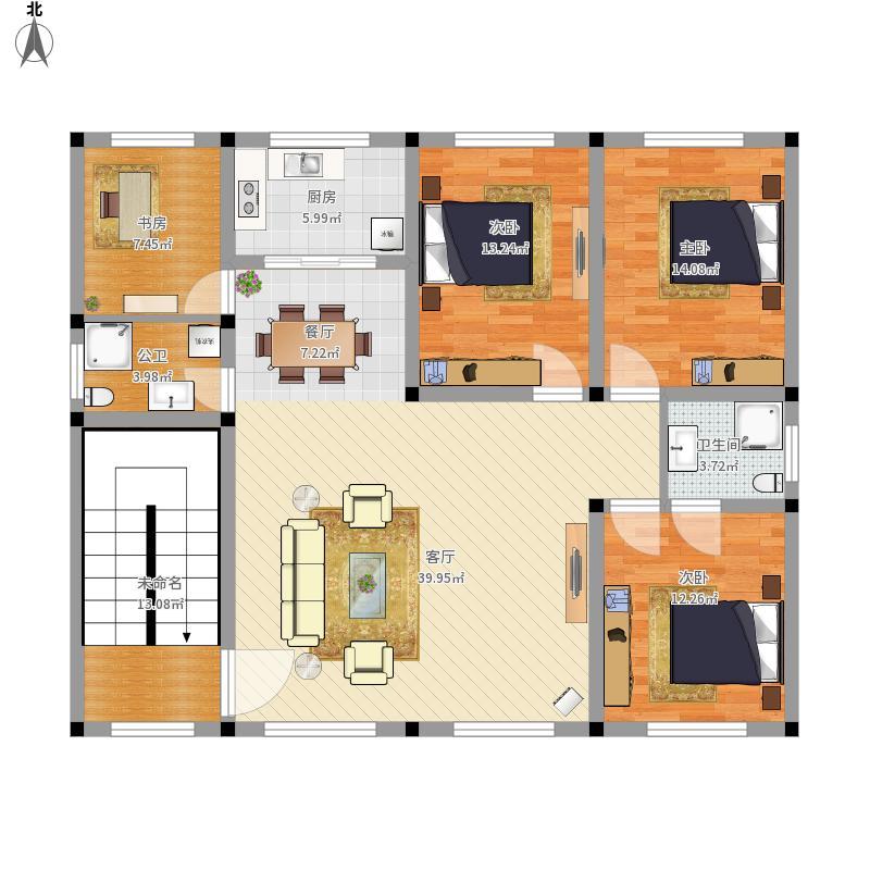 姨家自建房二层平面图户型图