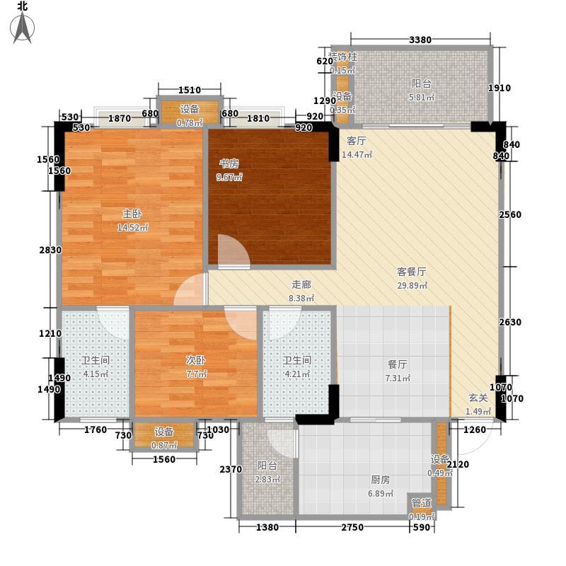 保利香槟花园b区3室1厅2卫1厨89.00㎡户型图