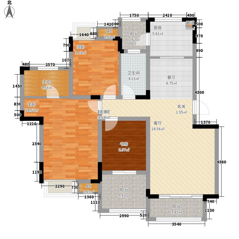 同景国际城馥山3室0厅1卫1厨101.00㎡户型图