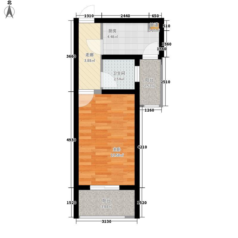 常绿林溪谷1室0厅1卫1厨47.00㎡户型图图片