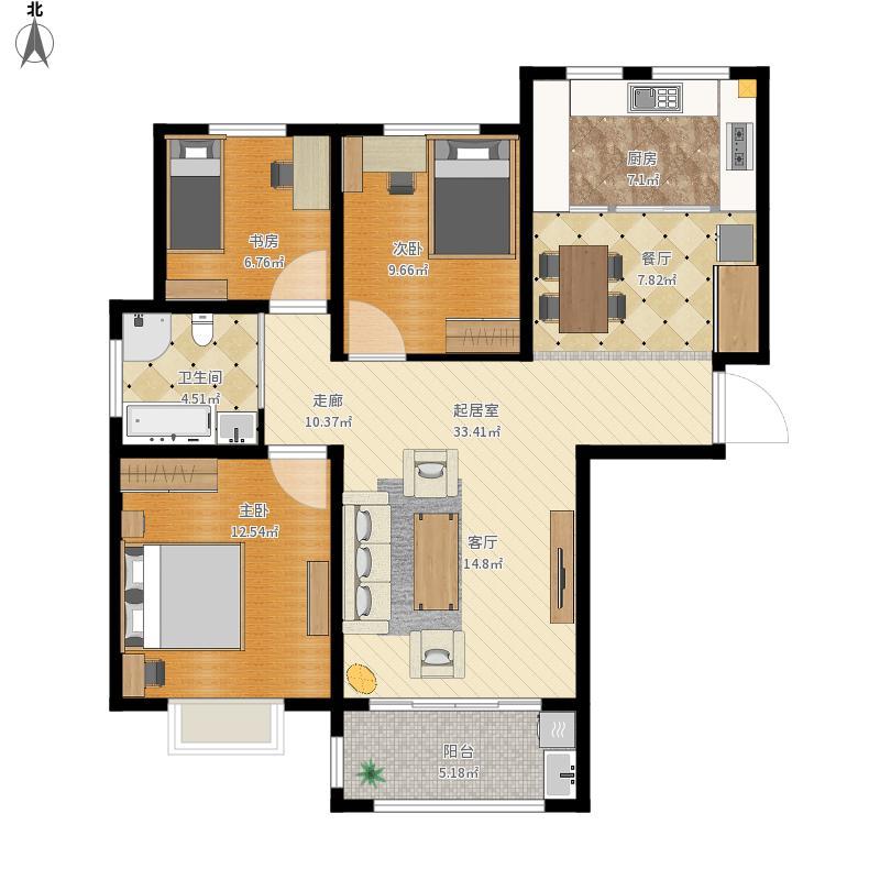 龙翔香格里拉三室两厅3室0厅1卫1厨111.00㎡户型图图片