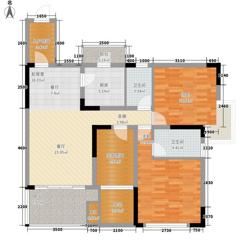 融汇半岛五园湾2室0厅2卫1厨90.85㎡户型图