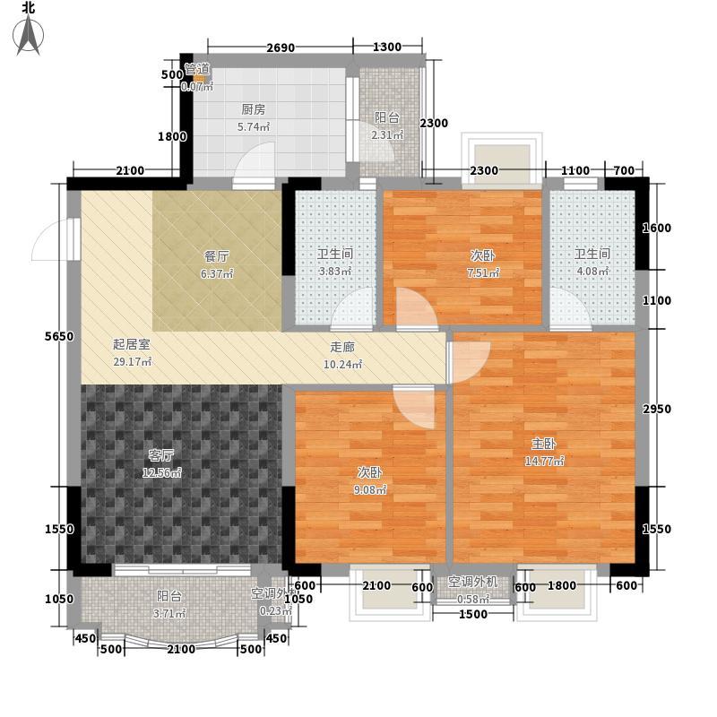 保利香槟花园3室0厅2卫1厨116.00㎡户型图