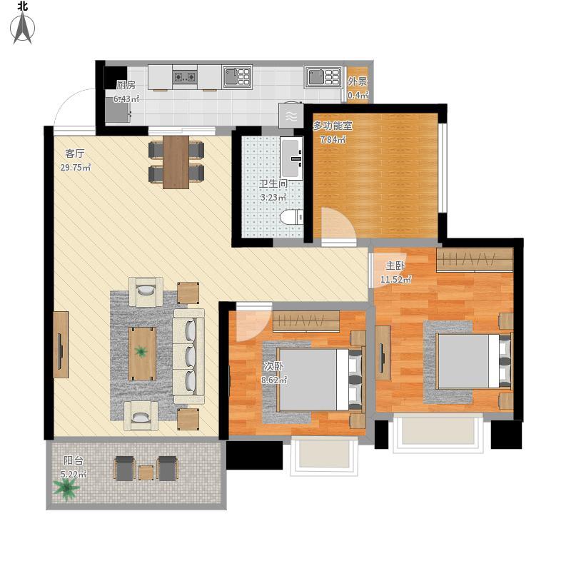 涪陵红星国际广场2室1厅1卫1厨103.00㎡户型图