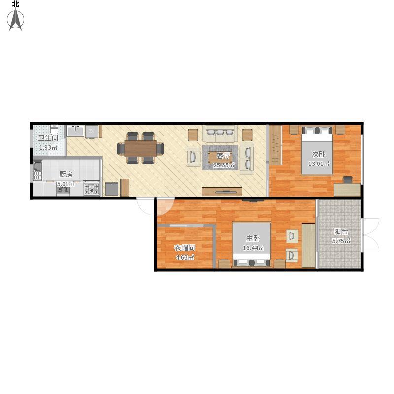 我的设计直筒房60平方-副本-副本-副本-副本户型图,图